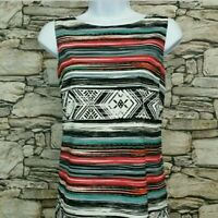 AB Studio Womens Dress Size 8 Striped Aztec Print Boat Neck Red Teal Black White