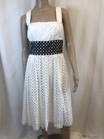 MAGGIE LONDON Women's Dress Sz 10 Cotton White Black Detail Sleeveless Summer