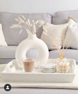 White Donut Round Vase | Nordic Vase | Minimalist Vase | Flat Vase