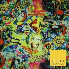 Bright Colourful Abstract Hippy Faces Printed Crepe Polyester Dress Fabric 2721