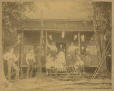 Fishing group w dog and rods by lodge US flags antique 19th century photo