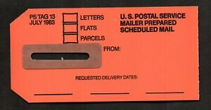 "US, U.S. Postal Service tag 13, ""Mailer Prepared Scheduled Mail."""