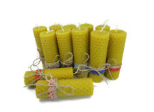 Handmade set of 4 candle small yellow hand rolled beeswax natural honey candle