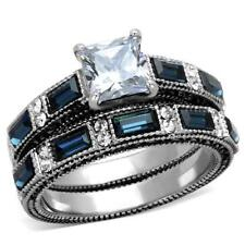 Cz Wedding Promise 2 Ring Set Stainless Steel Princess Blue Sapphire & Clear