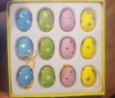 Gisela Graham x12 Boxed Wood Easter Egg Tree Hanging Decorations
