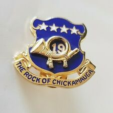 Vintage 19th Infantry Regiment The Rock Of Chickamauga Military Pin Badge