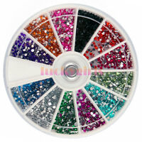 12 / 18 / 120 Colors Glitter Gems Bead Acrylic UV DIY Nail Art 3D Decoration Set