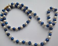 White/Blue Freshwater Pearl Necklace/Bracelet Set, 18 & 7.5 in long. Boxed