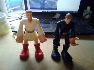 "Hasbro 2004 Star Wars Jedi Force Luke Skywalker  and Obi-Wan figure - 6"". Box 20"