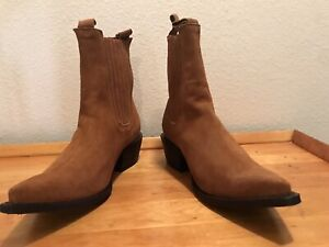 Men's Handmade Suede Ankle Western Cowboy Boots Snip Toe