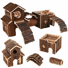 NATURAL WOODEN HAMSTER MOUSE GERBIL PLAYGROUND RATS PETS TOYS PLAY HOUSE TUNNEL