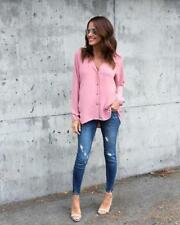 Simple Design V Neck Single Breasted Chiffon Blouse - Pink