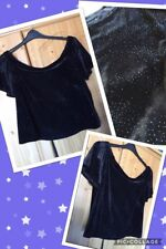 NEW TAGGED New Look Velvet Sparkly Glitter Black Crop Top Midnight Sky Size 10