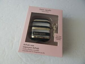 Kate Spade Airpods Case For Airpods 1st & 2nd Gen Clear/Gold/Black Stripes New