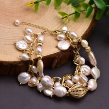 Fashion Women Natural Baroque Pearl Bracelet Bangle Wedding Bridal Party Jewelry