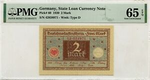 GERMANY 2 MARK 1920 STATE LOAN CURRENCY NOTE PICK 60 VALUE $200