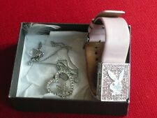 Playboy Pink Watch + Playboy Heart Necklace Set Ex. Condition