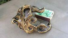 Ancienne curieuse étrange sculpture en bronze en forme de FAUNE, tête bizarre.