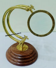 Antique Brass Magnifying Glass Lens Nautical Wooden Base Magnifier