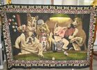 VINTAGE DOGS PLAYING BILLIARDS POOL TAPESTRY A.T.C. New York 57X37 APPROX TURKEY