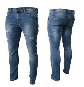 Jeans uomo elasticizzato pantaloni fit comodo denim cotone tasche strappato