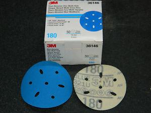 "BOX 3M 36146 HOOKIT BLUE ABRASIVE 3"" INCH (50) DISCS MULTI-HOLE 180 GRADE GRIT"