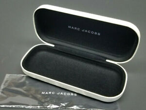 NEW MARC JACOBS Sunglasses Eyeglasses Hard Storage Case White W/ CLEANING CLOTH