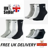 1-3 Pairs Nike Crew Quarter Ankle Socks Unisex Mens Womens White Black Grey