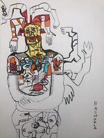 Hasworld original Ink Drawing, painting Signed,pop Art, Graffiti,street Art