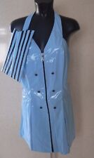 AIR HOSTESS COSTUME SEXY PU FANCY DRESS BLUE CABIN CREW OUTFIT Size L