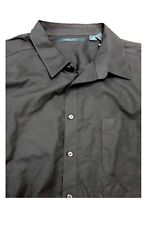 Perry Ellis Black Polka Dot 100% Cotton Short Sleeve Dress Shirt LT Big & Tall