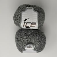 Ice Yarn Robin Alpaca Grey 50 g 164 yds 19% Alpaca, 42% Wool Lot of 2 Skeins