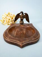 Mid-Century Wooden and Brass piece Eagle Trinket Dish