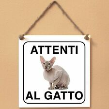 Gatto Peterbald 2 Attenti al gatto Targa gatto cartello ceramic tiles