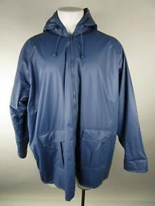 VINTAGE Misty Harbor Mens Blue PVC Flannel Lined Hooded Rain Coat Jacket 3XL