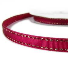 "2 Yds Metallic Gold Side Saddle Stitched Fushia Pink Grosgrain Ribbon 3/8""W"