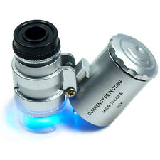 Mini Jeweller 60X Pocket Microscope Jewelry Magnifier Loupe Glass LED Light