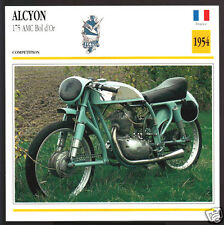 1954 Alcyon 175 AMC Bol d'Or France Motorcycle Photo Spec Sheet Info Stat Card