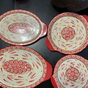 4 Temp-tations Ovenware by Tara OLD WORLD  RED 2 Round 2 Oval W Handles