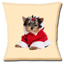 Yorkshire Terrier Puppy Cushion Cover 16 inch 40cm Christmas Santa Coat Cream