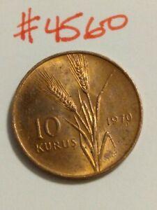 🇹🇷🇹🇷 1970 Turkey 10 Kurus Coin - Red Toning 🇹🇷🇹🇷