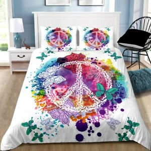 White Butterfly Peace Quilt/Duvet/Doona Cover Set Single Double Queen King Size
