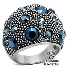 Women's Ring Fashion Cocktail Blue Round Cut Stainless Steel Size 9
