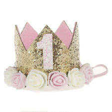 First Birthday Party Hat Decor Hair Accessory Baby Girl Flower Princess Crown