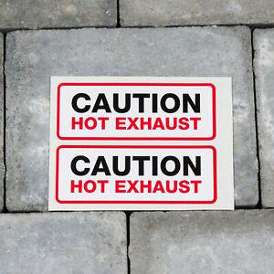 Caution Hot Exhaust Stickers - Set Of 2 - Self Adhesive Vinyl - SKU5097