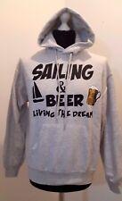 Fruit of The Loom Grey Hoodie - Sailing & Beer Living The Dream (M)