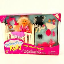 Bedtime Fun Kelly Barbie Baby Sister 1995 Mattel #12489 Crib Toys Clothes Food
