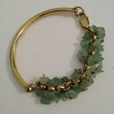Natural stone charm  AVENTURINE authentic bracelet, gold plated silver