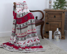 Red Stag Nordic Christmas Festive Xmas Plush Fleece Blanket Throw 130 x 180cm