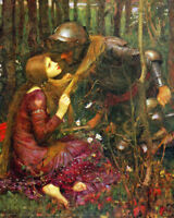 Waterhouse Knight With Lady Maiden Forest Painting 8x10 Real Canvas Art Print